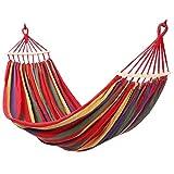 DLINMEI Voyage de toile de coton de 2 personnes hamacs, lit de balançoire de camping portable avec hamac intérieur en bois de propagation de feuillus ( Color : Red , Size : 200*80cm/78.74*31.49inch )