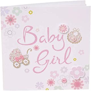 20 Pack Cute Painted Baby Girl Blank Shower Invitations with Envelopes
