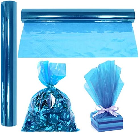 Cellophane Wrap Roll Blue 100 Ft Long X 16 in Wide 2 3 Mil Thick Transparent Blue Gifts Baskets product image