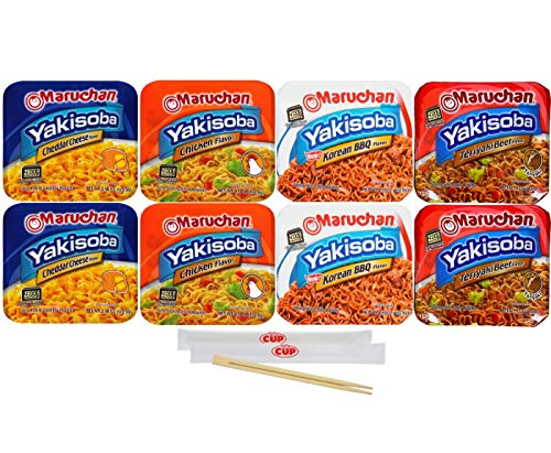 Maruchan Yakisoba Variety, 4 Different Flavors, Single Serving Home-style Japanese Noodles (Pack of 8) with By The Cup Chopsticks