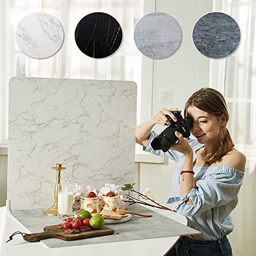 2-Sided 2 PCS Photo Backdrop Boards, Flat Lay Food Photography Background, Durable Waterproof Product Photography, 24x24 Inch, BEIYANG