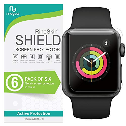(6-Pack) Apple Watch 38mm Screen Protector (Series 3 2 1) RinoGear Case Friendly iWatch Screen Protector for Apple Watch Series 3 38mm Accessory Clear Film