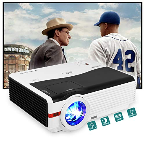 5000 Lumen High Brightness Video Projector Multimedia HDMI 1080P Supported LCD Outside Movie Projector,Compatible with Blu Ray DVD Laptop Computer Playstation Xbox Fire TV Stick Smartphones