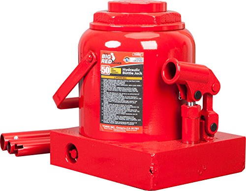 BIG RED T95007 Torin Hydraulic Stubby Low Profile Welded Bottle Jack, 50 Ton (100,000 lb) Capacity, Red