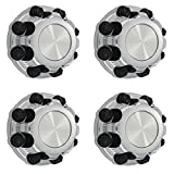 OxGord Wheel Center Caps 8 Lugs Best for Select GM GMC Chevrolet 16 Inch Van & Truck - OEM Replacement 15039489, 15039488, 9597169, 9597170 Rim Hub Cover (Set of 4) - Chrome Black