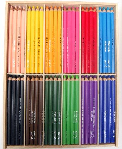 EDU3 Jumbo kleurpotloden, zeskantig, 6,25 mm vulling, 144 stuks in houten doos
