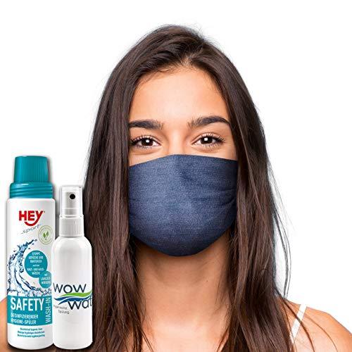 WoW Water Mund Nasen Maske »Jeans« Hygieneset | wiederverwendbare Gesichtsmaske | Community-Maske in Universalgröße | Set bestehend aus Stoffmaske Hygiene-Spray 100ml + Safety-Wash In 250ml