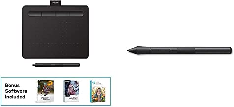 """Wacom CTL4100 Intuos Graphics Drawing Tablet with 3 Bonus Software Included, 7.9""""x 6.3"""", Black Bundle with Wacom LP1100K 4..."""