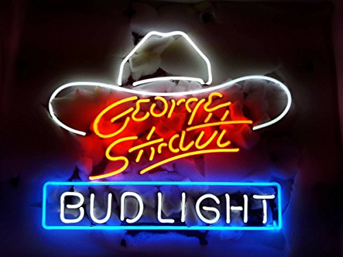 "Desung New 20""x16"" George Strait Bud-Light Neon Sign (Multiple Sizes Available) Man Cave Signs Sports Bar Pub Beer Neon Lights Lamp Glass Neon Light CX217"