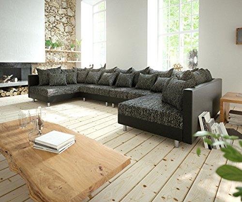 DELIFE Couch Clovis XL Schwarz Wohnlandschaft erweiterbares Modulsofa