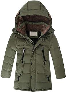 Boys' Hooded Down Coats Winter Warm Jacket Solid Puffer Coat
