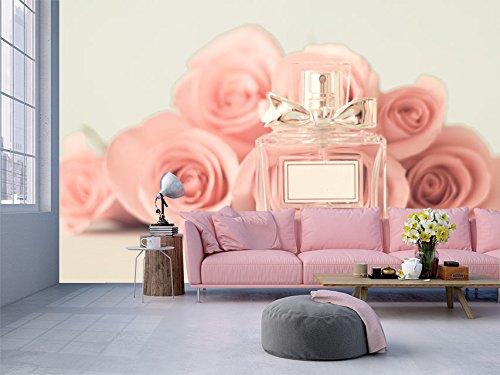 Fotomural Vinilo Pared Flores rosas frasco colonia | Fotomural para paredes | Mural | Vinilo Decorativo | Varias Medidas 350 x 250 cm | Decoración comedores, salones, habitaciones...