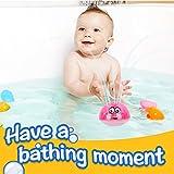 BRAND SET Juguete de baño para bebés Juguete de Agua de rociadores Diversión a la Hora del baño Puede Jugar en el Agua y Jugar en el Suelo con música y luz Intermitente(Bola roja)