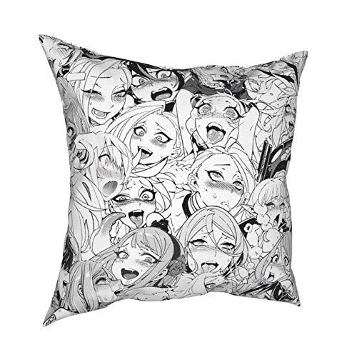 RuiShuoPiCao Funda de cojín bohemia para decoración del hogar, para sofá, cama, Ahegao Hentai Anime Face