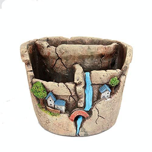 AFCITY-Garden Nains de Jardin, Ciment Succulent Plante Pots Cactus Plante Pot de Fleurs Pot pour la Maison et Le Bureau Jardin Décoration d'extérieur (Couleur : B, Taille : 17 * 16 * 13cm)