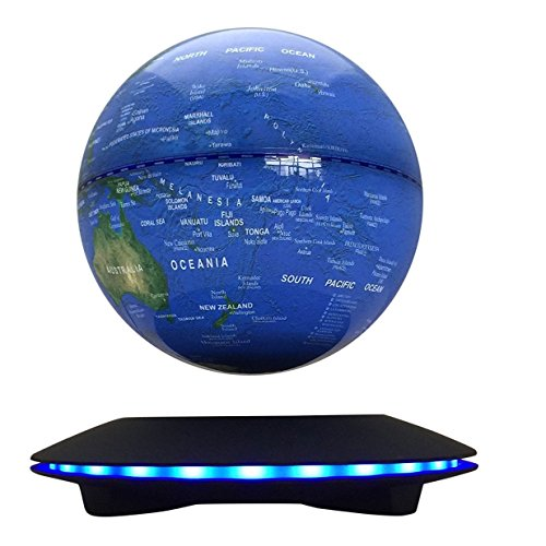 Woodlev Maglev Magnetic Levitation Levitron Floating Rotating Wireless Transmission Touch Control Three Gears 6' Blue Globe Black Platform LED Adjustment Home Decor Upgraded Version
