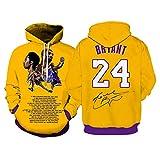 CNMDG Black Mamba Kobe Bryant Hoodie Pullover, Lakers 24# Sudaderas con Capucha para Hombres, Sudadera con Capucha de impresión 3D, Sudadera con Capucha de Kobe conmemora XXXL