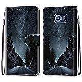 i-Case Funda Adecuado para Samsung Galaxy S6 Carcasa de Tipo Libro con Ranuras para Tarjetas de Soporte Horizontal Solapa con Cierre Magnético Billetera Samsung Galaxy S6,Camino de la Noche Negra