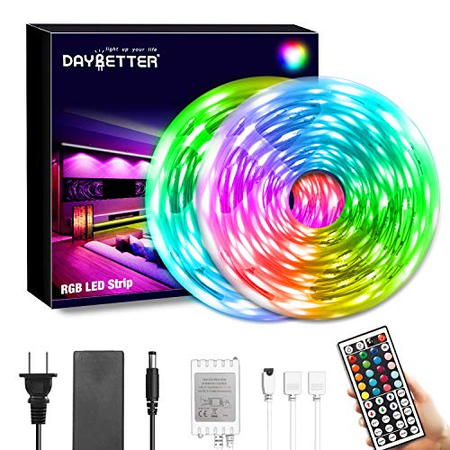 DAYBETTER Led Strip Lights 40FT, RGB Flexible Led Lights for Bedroom with 44Keys IR Remote Control and 12V Power Supply,SMD5050 Color Changing Led Strips for Room,Kitchen,Bar DIY Decoration