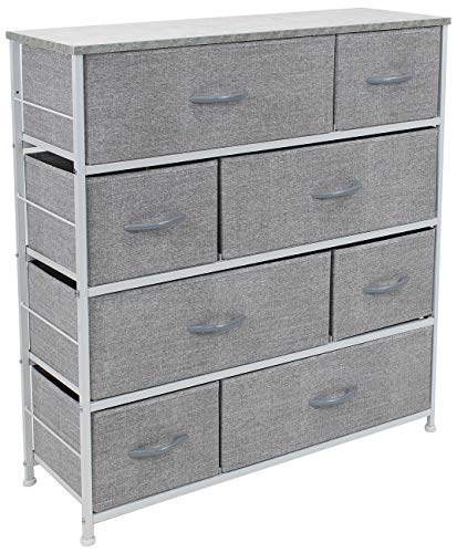 Sorbus Dresser with 8 Drawers - Furniture Storage Chest Tower Unit for Bedroom, Hallway, Closet, Office Organization - Steel Frame, Wood Top, Easy Pull Fabric Bins (8 Drawers, Gray)