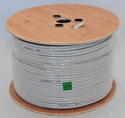 Cable Sourcing - 100m RG59+2 CCS, High Preforming Video + Power Shotgun Coxial Cable, 75 Ohms, Solid Copper Power, Wooden Drum, CCTV, Security Cable, External & Internal Use, Black or White