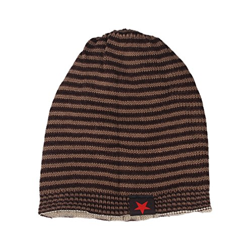 Bigood Bonnet Homme Femme Tricot Chapeau Hiver Souple Etoile Beige