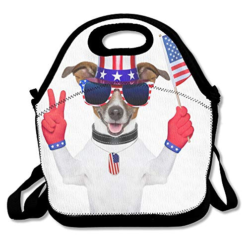 Wincan Lunchtasche für Kinder, Lunchbox, Lunchbox, Essensbeutel, interessant, beliebte Haustiere, amerikanische Flagge, rote Handschuhe, Sonnenbrille, Hut