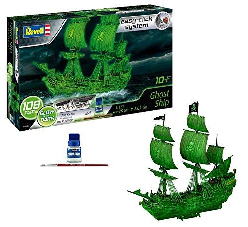 Revell 05435 Geisterschiff mit Nachtleuchtfarbe, Piratenschiff, Modellbausatz mit easy-click-system