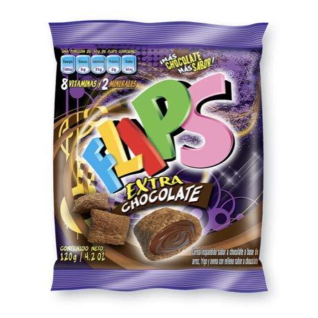 FLIPS EXTRA-CHOCOLATE Venezuela. Bolsa 120 gr / 4.2 oz. Cereal a base de arroz, trigo y avena en forma de almohaditas, con delicioso extra relleno sabor a chocolate
