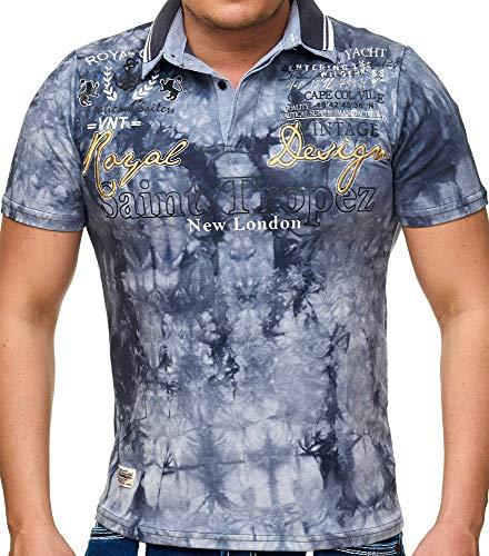 Verwaschenes Polo-Shirt Royal Design (bis 5XL) LG-005 (3XL, Grau)