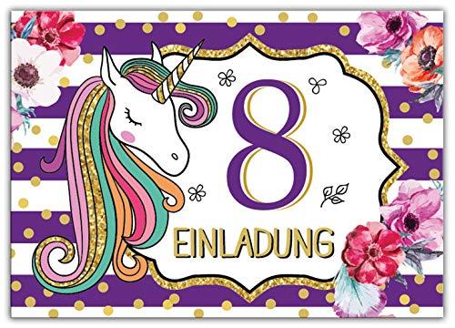 Junaversum 12 Einladungskarten zum 8. Kindergeburtstag Mädchen Einhorn Unicorn Einladungen zum achten Geburtstag achte