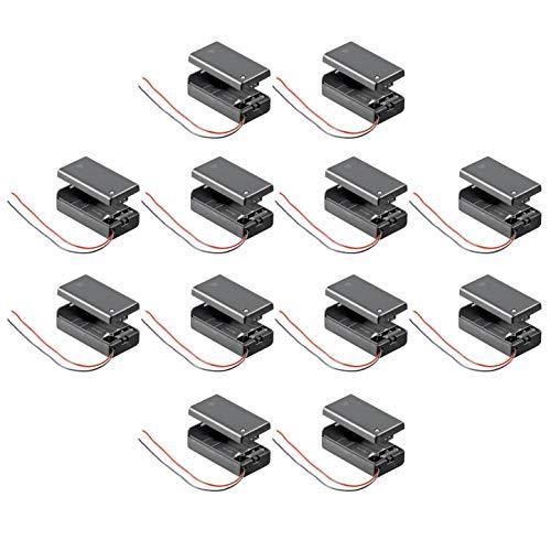 10x Batteriehalter | 9V Block | mit EIN Aus Schalter | lose Kabelenden | geschlossenes Gehäuse | wasserabweisend | schaltbar | Batteriefach Akkuhalter Aufbewahrungsbox | 10 Stück