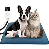 HONGXIAN Pet Heating Pad 45X45CM,4 Adjustable Timer & 10 Adjustable Temperature,Waterproof Safe Heated Pet mat for Dog Cat with Chew Resistant Cord,Soft Flannel Electric Blanket