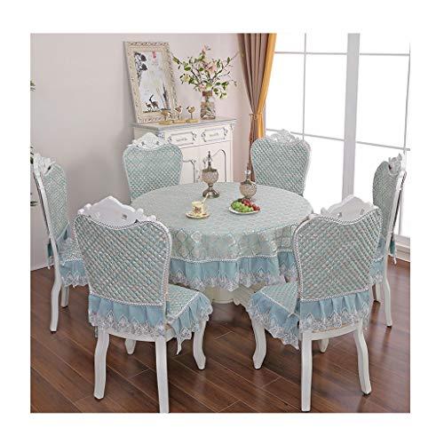 Liangzishop Startseite Esstisch Tuch Stuhl Kissen Stuhl-Abdeckung Set, Herausnehmbare waschbare Kurz Dining Chair-Schutz-Abdeckung Sitz Slipcover (6 Stück) (Color : Blue)
