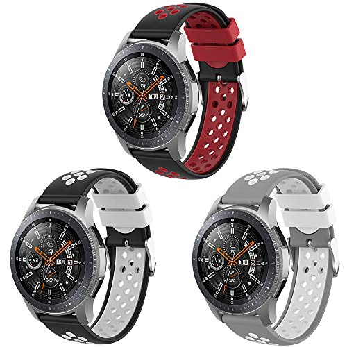 Songsier Kompatibel mit Gear S3 Frontier Armband/Galaxy Watch 46mm/Gear 2 /Huawei Watch GT2 46mm/Watch GT 46mm/Moto 360/Ticwatch Pro, 22mm Silikon Ersatzarmband Uhrenarmbänder