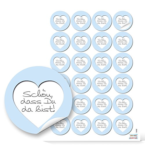 48 runde Aufkleber hellblau weiß grau blau Herz SCHÖN DASS DU DA BIST 4 cm Sticker Etiketten für Hochzeit Taufe Kommunion Geburtstag Gastgeschenke give-away Deko Mitgebsel Geschenke Verpackung