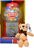 Classic Dubble Bubble 8.5 Inch Gumball Machine Coin Bank with Dubble Bubble Gumballs and By The Cup Teddy Bear (With Box)