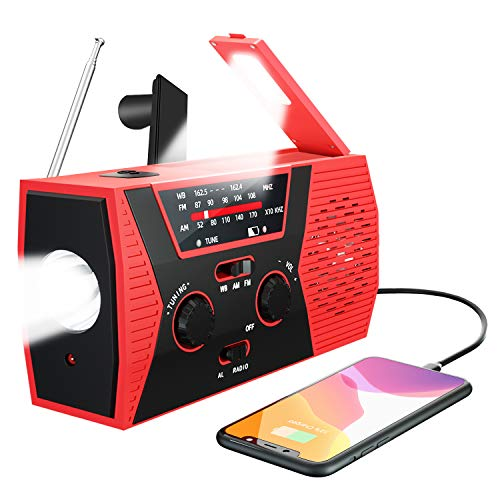 Emergency Solar Hand Crank Radio, Portable NOAA/AM/FM Weather Radio for Home, Camping&Survival with LED Flashlight, Reading Lamp, 2000mAh Power Bank USB Cell Phone Charger and SOS Alarm