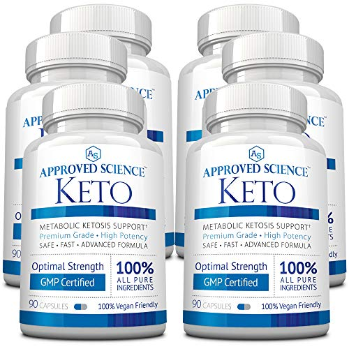 Approved Science® Keto: Pure Exogenous 4 Ketone Salts (Calcium, Sodium, Magnesium and Potassium) and MCT Oil to Boost Ketosis. 6 Bottles 1