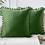 LHKIS Throw Pillow Covers 18x18, Lime Green Decorative Velvet Farmhouse Pillow Cases Cushion Cover with Pom Poms for Couch Sofa Bedroom, Set of 2