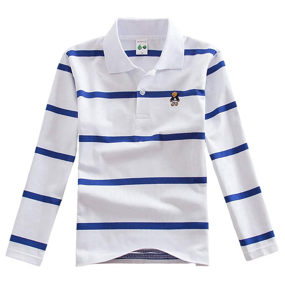 銀万一に備えて統合するNiceYY 子供服 男の子 ポロシャツ 長袖 poloシャツ 秋 ボーダー柄 折り襟 キッズ Tシャツ スクール ジュニア 学生 高校生 お受験 着心地がいい