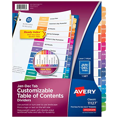 Avery Jan-Dec Tab Dividers for 3 Ring Binders, Customizable Table of Contents, Multicolor Tabs, 1 Set (11127)