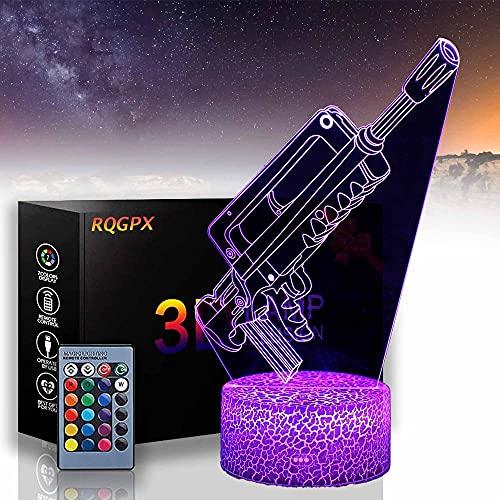 Gun A 3D - Lámpara de noche con 16 cambios de color y mando a distancia, regalos para niños de 3 4 5 6 años