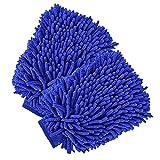 Car Wash Mitt, House Cleaning Glove, Home Dusting Cloth Chenille Microfiber 2 pcs Blue