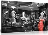 Cuadro para pared, en blanco y negro con Marilyn Monroe en vestido rojo, Elvis Presley y James Dean, lienzo de pared, impreso, negro/rojo/blanco, A0 91x61cm (36x24in)