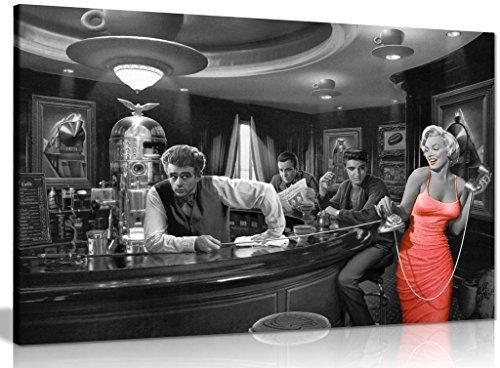 Marilyn Monroe Elvis Presley James Dean Red Dress Black & White Canvas Wall Art Picture Print (18x12in)