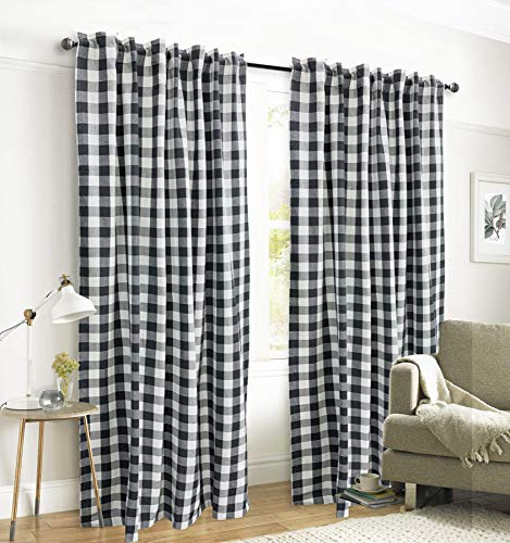 Gingham Check Window Curtain Panel, 100% Cotton, Black/White, Cotton Curtains, 2 Panels Curtain, Tab Top Curtains, 50x96 Inches, Set of 2