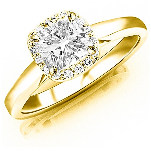 1.1 Ctw Cushion Cut Classic Prong Set Halo Style 14K Yellow Gold Diamond Engagement Ring (J-K Color I1-I2 Clarity 1 Ct Center)