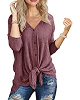 IWOLLENCE Womens Loose Henley Blouse Bat Wing Long Sleeve Button Down T Shirts Tie Front Knot Tops Rust Red Medium