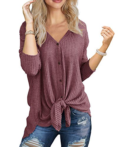 IWOLLENCE Womens Loose Henley Blouse Bat Wing Long Sleeve Button Down T Shirts Tie Front Knot Tops Rust Red XL